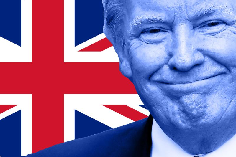 UK flag with Trump image overlaid