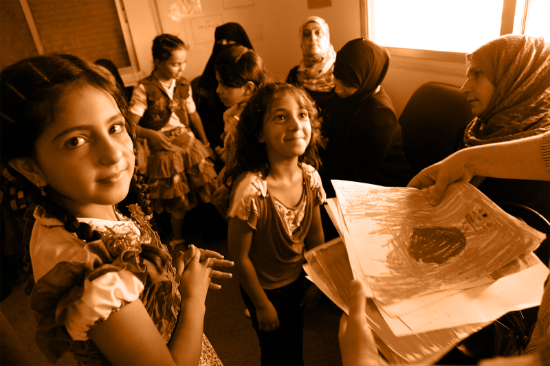 Syrian refugee children at a clinic