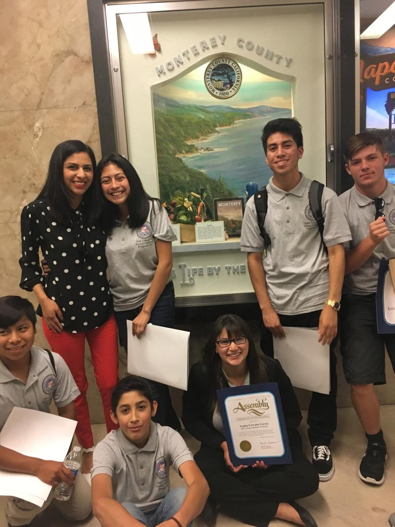 photo of excited Young Legislators after being recognized with certificates by  Assemblymember Caballero