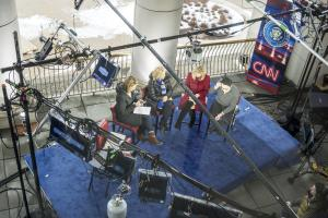 overhead view of tv anchors in Iowa