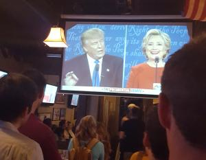Hillary Clinton having a good time at the debate (I was too!).