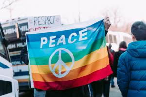 rainbow peace symbol flag