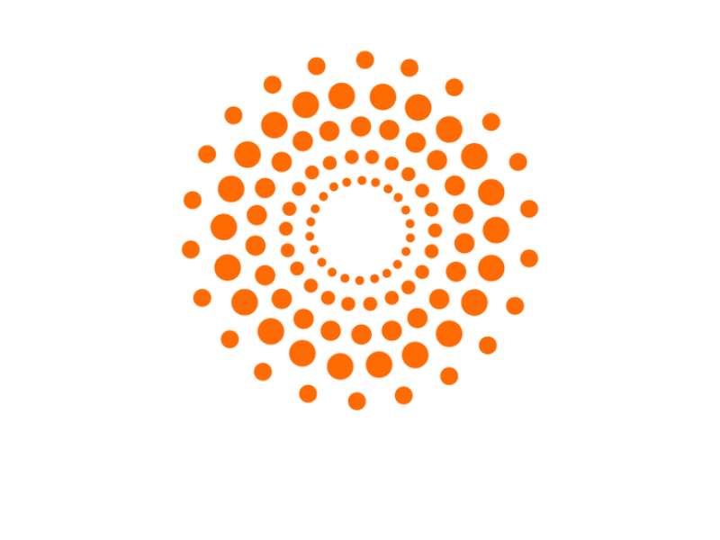 EGAP logo orange dots in sunburst pattern