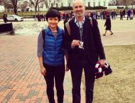 Me and my boss, Mr. Richard McGregor, current research fellow at the Wilson Center, former Financial Times bureau chief in DC and Beijing, in front of the White House. The picture was taken in mid March. Note the leafless trees and snow on the ground