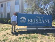 Here I am standing outside Brisbane City Hall on a beautiful blue sky day. City Hall is located next to Crocker Industrial Park, where most businesses in Brisbane operate. Behind City Hall is San Bruno Mountain (not shown here), which is the northernmost peak of the Santa Cruz Mountain Range.