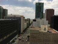 Image of the view from my desk in Downtown LA