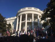 The military band played the national anthems of both France and the United States at the beginning of the ceremony