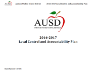 Front page of the AUSD 2016-2017 Local Control Accountability Plan, the document I will be working with in my new position!